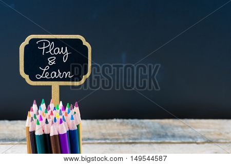 Wooden Mini Blackboard Label With Message Play And Learn