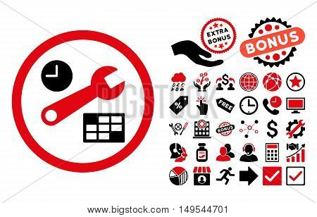 Date and Time Setup pictograph with bonus pictograph collection. Glyph illustration style is flat iconic bicolor symbols, intensive red and black colors, white background.