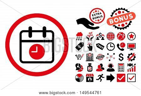 Date and Time icon with bonus images. Glyph illustration style is flat iconic bicolor symbols, intensive red and black colors, white background.