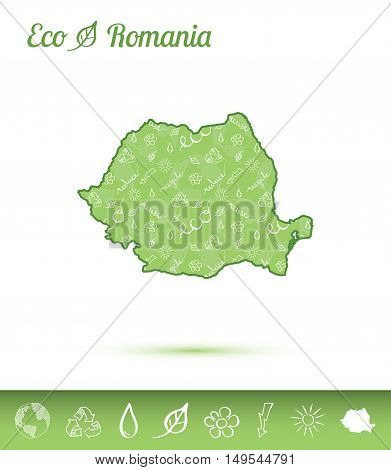 Romania Eco Map Filled With Green Pattern. Green Counrty Map With Ecology Concept Design Elements. V