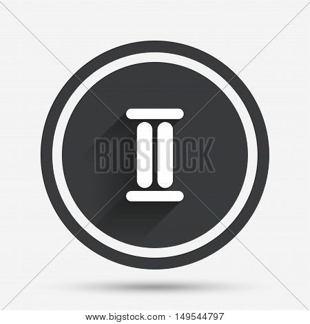 Roman numeral two sign icon. Roman number two symbol. Circle flat button with shadow and border. Vector