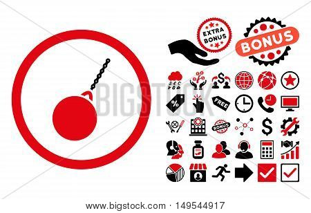 Destruction Hammer icon with bonus symbols. Glyph illustration style is flat iconic bicolor symbols, intensive red and black colors, white background.