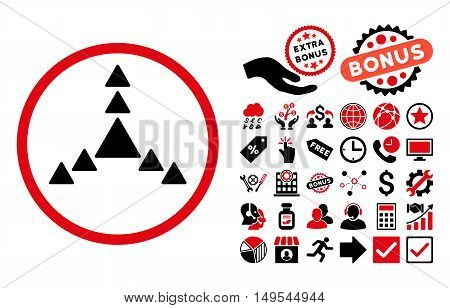 Direction Triangles icon with bonus pictogram. Glyph illustration style is flat iconic bicolor symbols, intensive red and black colors, white background.
