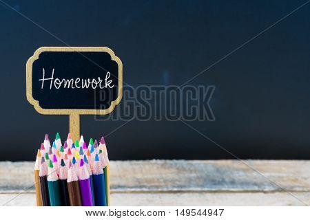 Wooden Mini Blackboard Label With Message Homework