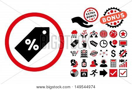 Discount Tag icon with bonus images. Glyph illustration style is flat iconic bicolor symbols, intensive red and black colors, white background.