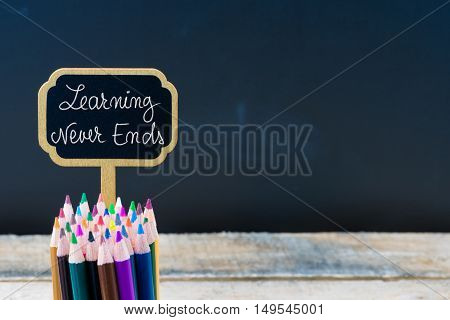 Wooden Mini Blackboard Label With Message Learning Never Ends