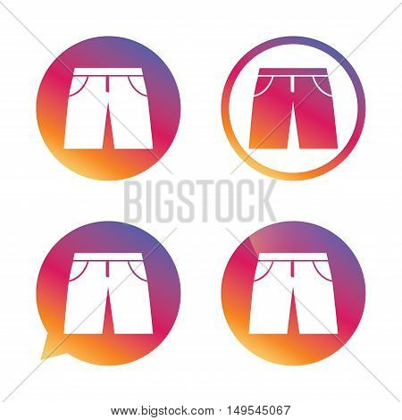 Men's Bermuda shorts sign icon. Clothing symbol. Gradient buttons with flat icon. Speech bubble sign. Vector
