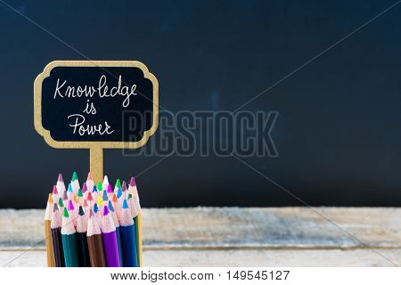 Wooden Mini Blackboard Label With Message Knowledge Is Power