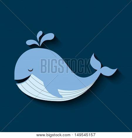 tender cute whale card icon vector illustration design