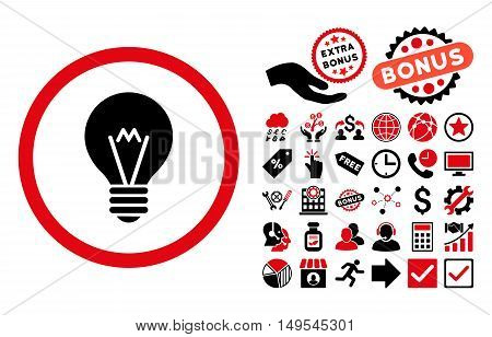 Electric Bulb pictograph with bonus pictogram. Glyph illustration style is flat iconic bicolor symbols, intensive red and black colors, white background.