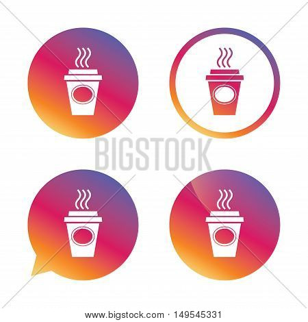 Take a Coffee sign icon. Hot Coffee cup. Gradient buttons with flat icon. Speech bubble sign. Vector