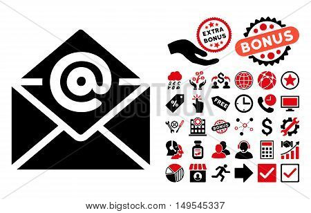 Email pictograph with bonus symbols. Glyph illustration style is flat iconic bicolor symbols, intensive red and black colors, white background.