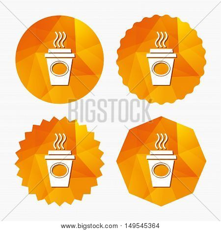 Take a Coffee sign icon. Hot Coffee cup. Triangular low poly buttons with flat icon. Vector