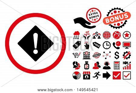 Error icon with bonus symbols. Glyph illustration style is flat iconic bicolor symbols, intensive red and black colors, white background.