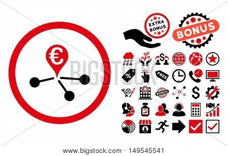 Euro Bank Branches pictograph with bonus symbols. Glyph illustration style is flat iconic bicolor symbols, intensive red and black colors, white background.