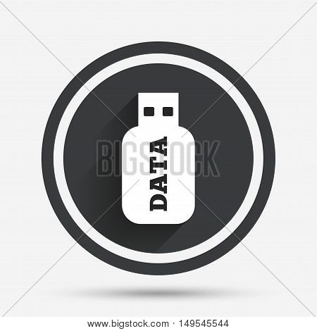 Usb Stick sign icon. Usb flash drive button. Circle flat button with shadow and border. Vector