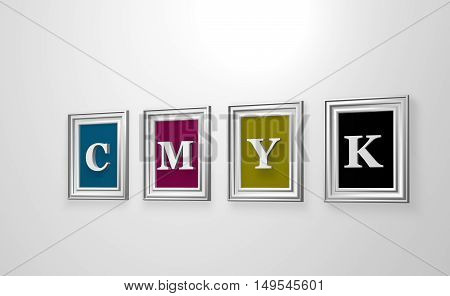 four picture frames with the letters cmyk on white wound - 3d illustration