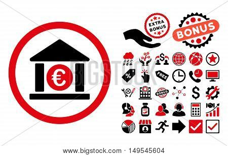 Euro Bank icon with bonus pictograph collection. Glyph illustration style is flat iconic bicolor symbols, intensive red and black colors, white background.
