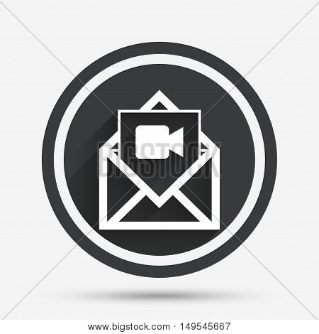 Video mail icon. Video camera symbol. Message sign. Circle flat button with shadow and border. Vector