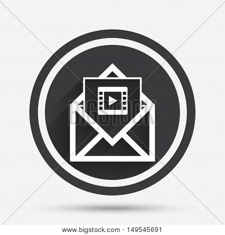 Video mail icon. Video frame symbol. Message sign. Circle flat button with shadow and border. Vector