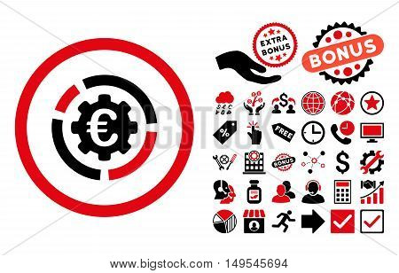 Euro Diagram Options icon with bonus icon set. Glyph illustration style is flat iconic bicolor symbols, intensive red and black colors, white background.