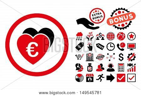 Euro Favorites pictograph with bonus pictogram. Glyph illustration style is flat iconic bicolor symbols, intensive red and black colors, white background.