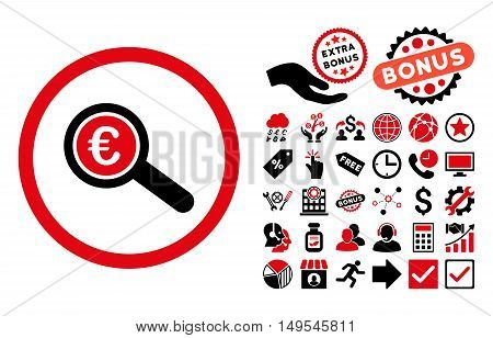 Euro Financial Audit pictograph with bonus pictograph collection. Glyph illustration style is flat iconic bicolor symbols, intensive red and black colors, white background.