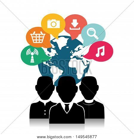 Social network icon cloud technology message business