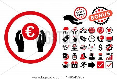 Euro Insurance Hands icon with bonus symbols. Glyph illustration style is flat iconic bicolor symbols, intensive red and black colors, white background.