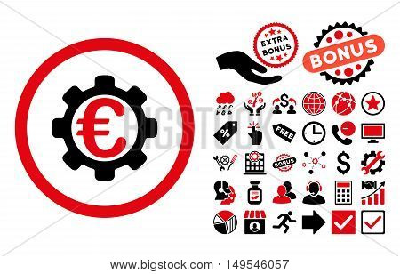 Euro Payment Options icon with bonus elements. Glyph illustration style is flat iconic bicolor symbols, intensive red and black colors, white background.