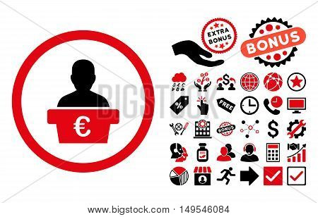 Euro Politician icon with bonus pictures. Glyph illustration style is flat iconic bicolor symbols, intensive red and black colors, white background.