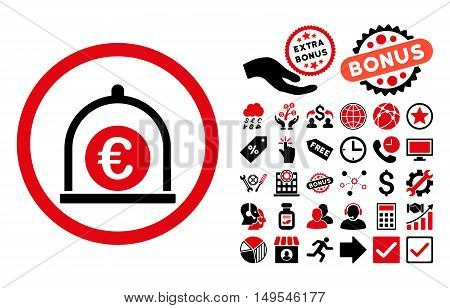 Euro Standard pictograph with bonus icon set. Glyph illustration style is flat iconic bicolor symbols, intensive red and black colors, white background.