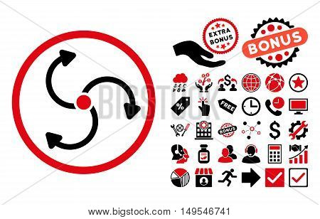 Fan Rotation pictograph with bonus elements. Glyph illustration style is flat iconic bicolor symbols, intensive red and black colors, white background.