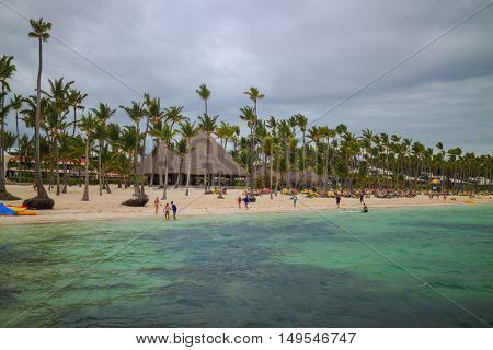 Bavaro beach in Punta Cana Dominican Republic. Turquoise caribbean sea.