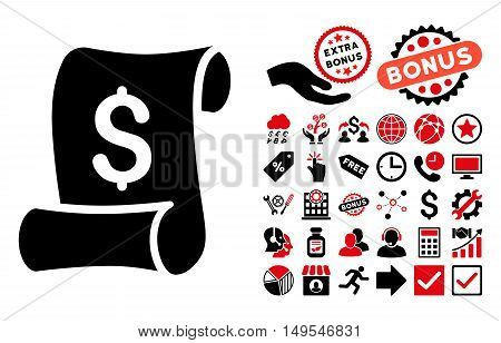Financial Receipt Roll pictograph with bonus clip art. Glyph illustration style is flat iconic bicolor symbols, intensive red and black colors, white background.