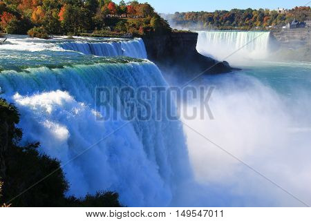 Niagara Falls from USA. Landscape view. Niagara Falls  is the collective name for three waterfalls that straddle the international border between Canada and the United States.