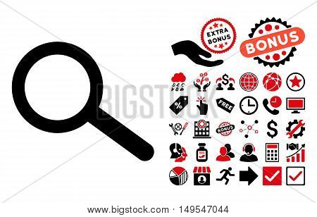 Find icon with bonus clip art. Glyph illustration style is flat iconic bicolor symbols, intensive red and black colors, white background.