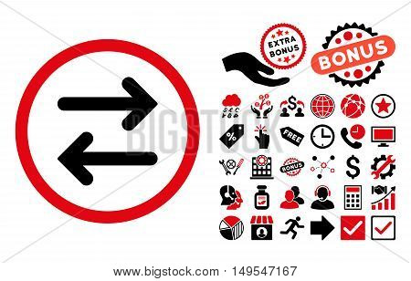 Flip Horizontal icon with bonus elements. Glyph illustration style is flat iconic bicolor symbols, intensive red and black colors, white background.