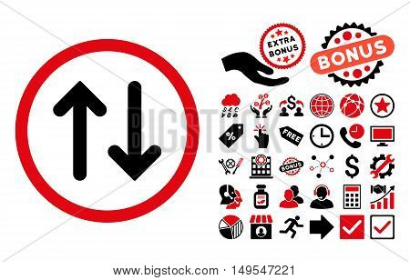 Flip icon with bonus symbols. Glyph illustration style is flat iconic bicolor symbols, intensive red and black colors, white background.