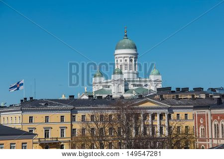 Beautiful view of famous Helsinki Cathedral, Finland.