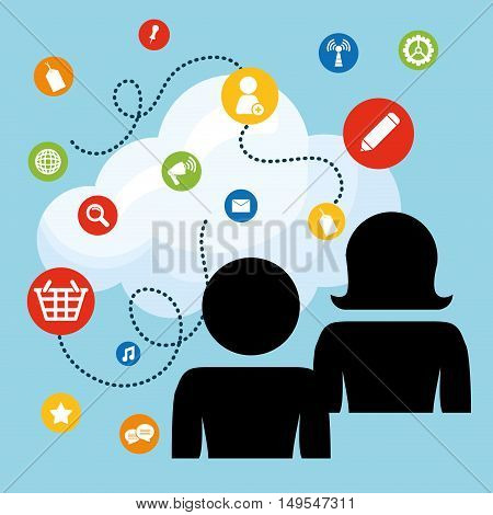 Social network people shadow link thought cloud