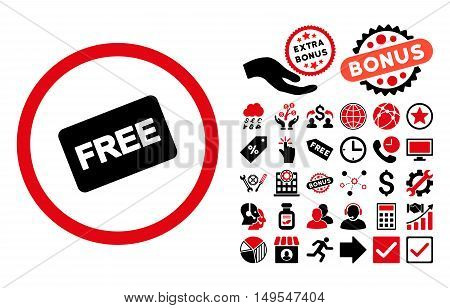 Free Card pictograph with bonus pictures. Glyph illustration style is flat iconic bicolor symbols, intensive red and black colors, white background.