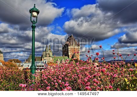 Old Quebec and beautiful flowers in the foreground - HDR Image