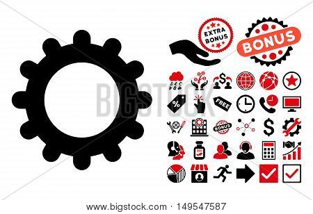 Gear pictograph with bonus symbols. Glyph illustration style is flat iconic bicolor symbols, intensive red and black colors, white background.