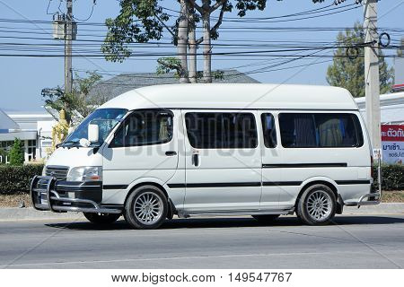 CHIANGMAI, THAILAND - DECEMBER 13, 2015: Private Toyota commuter van. Photo at road no.121 about 8 km from downtown Chiangmai, thailand.