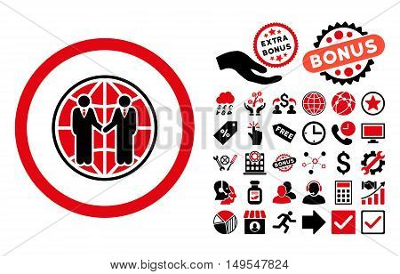 Global Partnership icon with bonus pictogram. Glyph illustration style is flat iconic bicolor symbols, intensive red and black colors, white background.