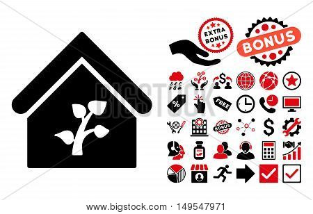 Greenhouse Building icon with bonus clip art. Glyph illustration style is flat iconic bicolor symbols, intensive red and black colors, white background.