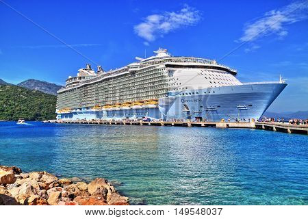 Labadee Haiti May 23 2016: Royal Caribbean Oasis of the Seas docked in Labadee Haiti. One of the largest passenger ship ever constructed. HDR image.