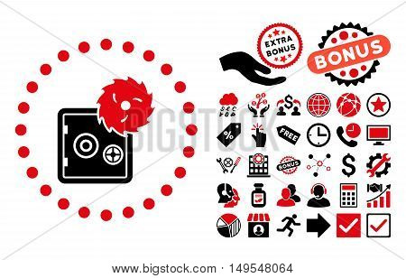 Hacking Theft icon with bonus symbols. Glyph illustration style is flat iconic bicolor symbols, intensive red and black colors, white background.