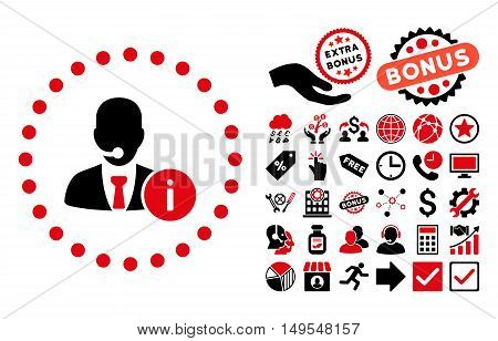Help Desk pictograph with bonus design elements. Glyph illustration style is flat iconic bicolor symbols, intensive red and black colors, white background.